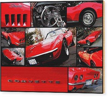 1969 Chevrolet Corvette Stingray Pop Art Collage 1 Wood Print by Aurelio Zucco