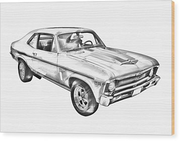 1969 Chevrolet Nova Yenko 427 Muscle Car Illustration Wood Print