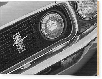 1969 Ford Mustang Boss 429 Grill Emblem Wood Print by Jill Reger