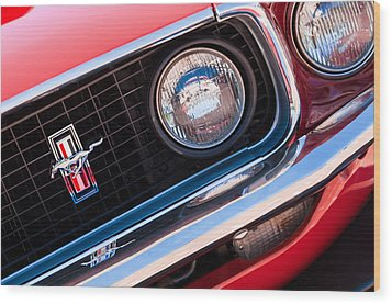 1969 Ford Mustang Boss 429 Grille Emblem Wood Print by Jill Reger