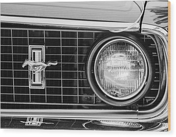 1969 Ford Mustang Mach 1 Grille Emblem Wood Print by Jill Reger