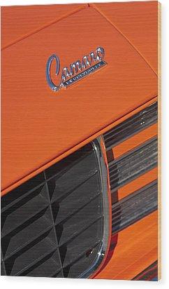 1969 Rs-ss Chevrolet Camaro Grille Emblem Wood Print by Jill Reger