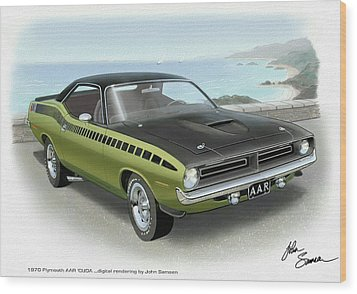 1970 Barracuda Aar Cuda Muscle Car Sketch Rendering Wood Print by John Samsen