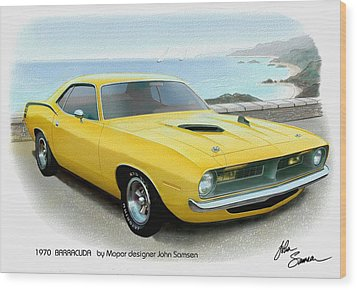1970 Barracuda Classic Cuda Plymouth Muscle Car Sketch Rendering Wood Print