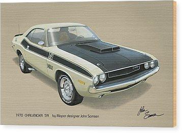 1970 Challenger T-a Dodge Muscle Car Classic Wood Print by John Samsen
