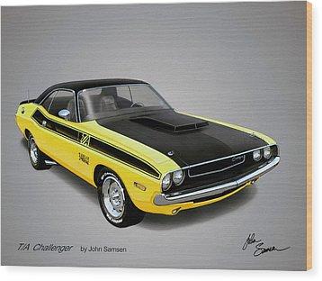 1970 Challenger T-a Muscle Car Sketch Rendering Wood Print by John Samsen