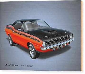 1970 'cuda Aar  Classic Barracuda Vintage Plymouth Muscle Car Art Sketch Rendering         Wood Print by John Samsen