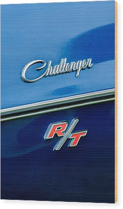 1970 Dodge Challenger Rt Convertible Emblem Wood Print by Jill Reger