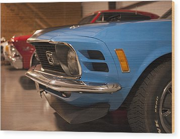1970 Mustang Mach 1 And Other Classics Hidden In A Garage Wood Print