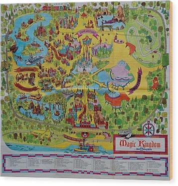 1971 Original Map Of The Magic Kingdom Wood Print