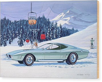 1972 Barracuda Cuda Plymouth  Vintage Styling Design Concept Rendering Sk Wood Print by John Samsen