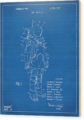 1973 Space Suit Patent Inventors Artwork - Blueprint Wood Print