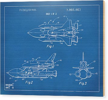 1975 Space Shuttle Patent - Blueprint Wood Print by Nikki Marie Smith