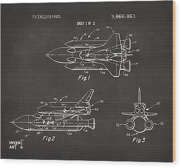 1975 Space Shuttle Patent - Gray Wood Print by Nikki Marie Smith