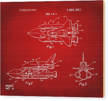 1975 Space Shuttle Patent - Red Wood Print