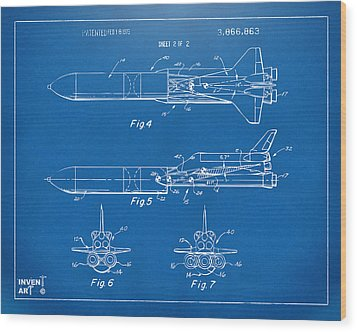 1975 Space Vehicle Patent - Blueprint Wood Print