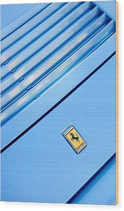 1986 Ferrari 328 Gts Hood Emblem Wood Print by Jill Reger