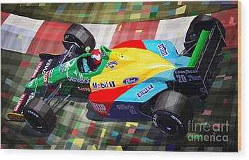 1989 Monaco Benettonb188 Ford Cosworth J Herbert Wood Print by Yuriy Shevchuk