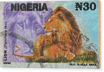1993 Nigerian Lion Stamp Wood Print by Bill Owen