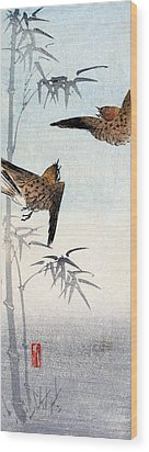 19th C. Japanese Sparrows Wood Print by Historic Image