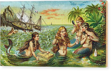 19th C. Mermaids At Ship Wreck Wood Print