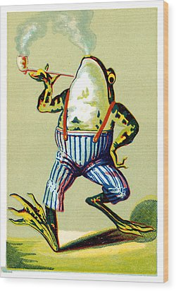 19th C. Pipe Smoking Frog Wood Print by Historic Image