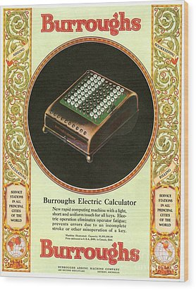 1920s Usa Equipment Burroughs Adding Wood Print by The Advertising Archives