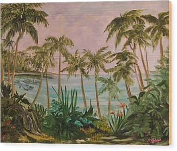 Wood Print featuring the painting   Paradise  Found by Beth Arroyo