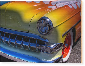 1954 Chevy Bel Air Custom Hot Rod Wood Print by David Patterson