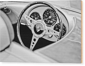 1955 Porsche Spyder Replica Steering Wheel Emblem Wood Print by Jill Reger