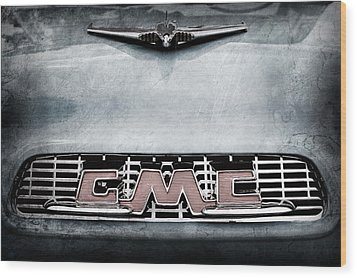 1956 Gmc 100 Deluxe Edition Pickup Truck Hood Ornament - Grille Emblem Wood Print by Jill Reger
