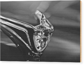 1956 Lincoln Premiere Convertible Hood Ornament Wood Print by Jill Reger