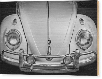 1960 Volkswagen Beetle Vw Bug   Bw Wood Print