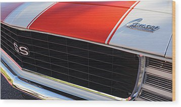 96 Inch Panoramic -1969 Chevrolet Camaro Rs-ss Indy Pace Car Replica Grille - Hood Emblems Wood Print by Jill Reger