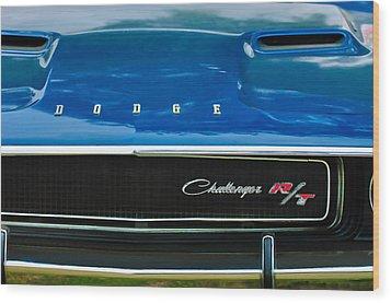 1970 Dodge Challenger Rt Convertible Grille Emblem Wood Print by Jill Reger