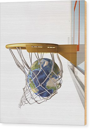 3d Rendering Of Planet Earth Falling Wood Print by Leonello Calvetti