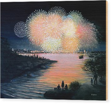 4th Of July Gloucester Harbor Wood Print by Eileen Patten Oliver