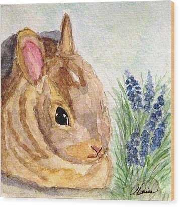 Wood Print featuring the painting A Baby Bunny by Angela Davies