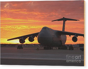 A C-5 Galaxy Sits On The Flightline Wood Print