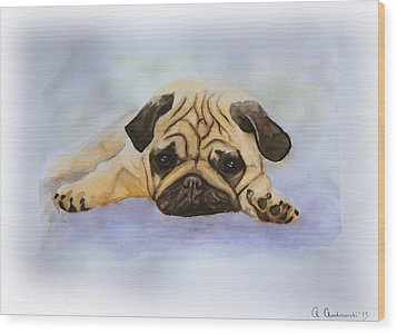 A Little Bulldog Wood Print by Anna Androsovski