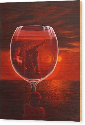 A Toast To Love And Wine Wood Print by Sandi Whetzel