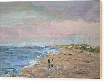 Wood Print featuring the painting A Walk On The Beach by Michael Helfen