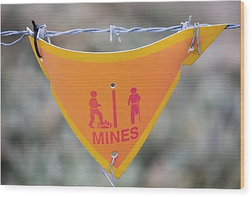 A Warning Sign About Mines Wood Print by Ashley Cooper
