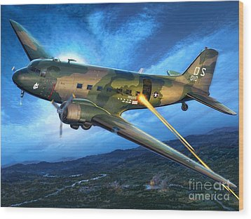 Ac-47 Spooky Wood Print by Stu Shepherd