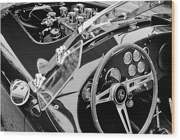 Ac Shelby Cobra Engine - Steering Wheel Wood Print by Jill Reger