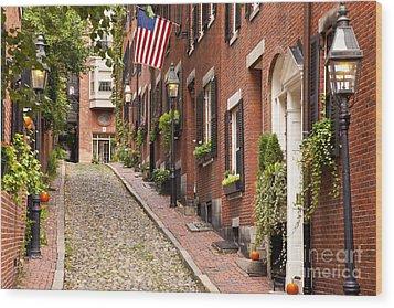 Acorn Street Boston Wood Print