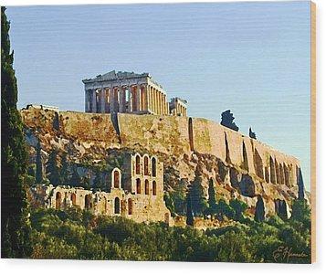Acropolis Wood Print by Ellen Henneke