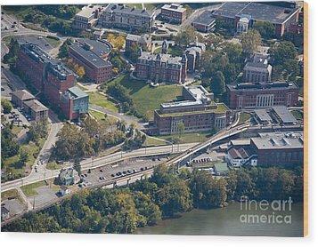 aerials of WVVU campus Wood Print