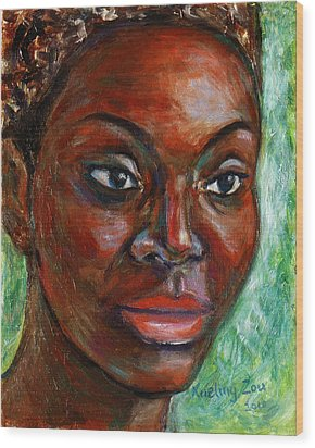 Wood Print featuring the painting African Woman by Xueling Zou