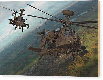 2 Ah64 Apache Wood Print by Ken Brannen